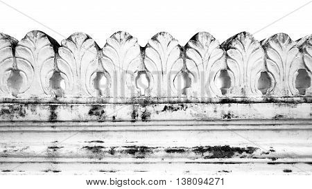 White Temple Fence Isolated Monochrome