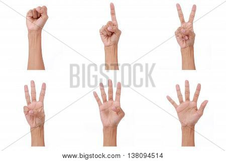 Hand count.woman hands show the number zeroone two three fourfive on white background