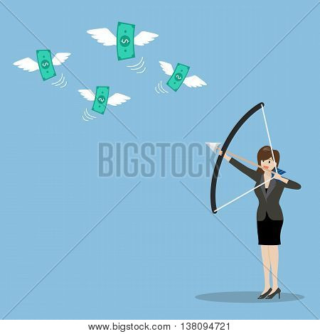 Business woman with a bow and arrow hitting the money fly. Business concept