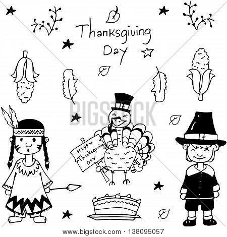 Sketch doodle Thanksgiving icon set vector illustration