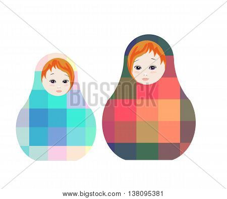 Russian dolls - matrioshka. Cute toys with geometric ornament. Vector illustration