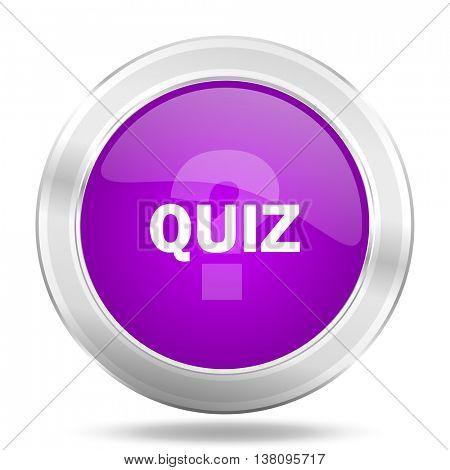 quiz round glossy pink silver metallic icon, modern design web element