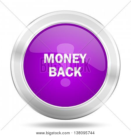 money back round glossy pink silver metallic icon, modern design web element