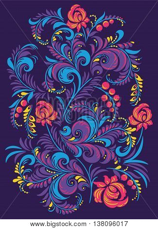 Vector illustration of russian floral ornament. Folk Gorodets print in Russian Style.