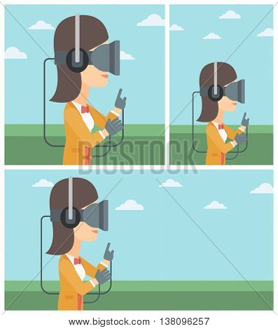 Young woman wearing a virtual reality headset. Woman playing video games outdoor. Woman wearing gamer gloves. Vector flat design illustration. Square, horizontal, vertical layouts.