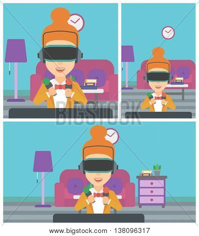 Young woman wearing a virtual reality headset and holding motion controllers in hands. Woman playing video games in apartment. Vector flat design illustration. Square, horizontal, vertical layouts.