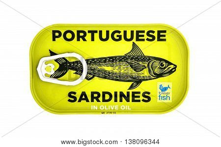 SWINDON UK - JANUARY 18 2014: Tin of Portuguese Sardines on a white background forever fish is supporting sustainably-fished