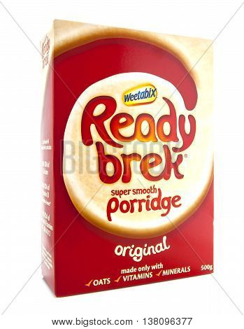 SWINDON UK - JANUARY 19 2014: Box of Ready Brek on a white background