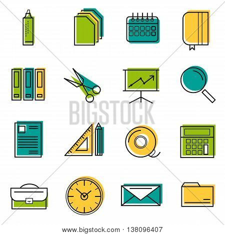 Sixteen vector colored thin line office icons. Use for web design. Paper and calendar postal envelope and folder with files