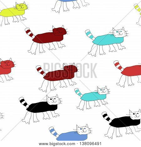 Seamless pattern with cats. Childish drawing. Vector illustration.