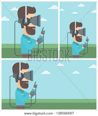 Hipster man wearing a virtual reality headset. Man playing video games outdoor. Man wearing gamer gloves. Vector flat design illustration. Square, horizontal, vertical layouts.