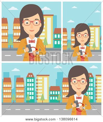 Young woman holding a smartphone looking at her smart watch. Synchronization between smartwatch and smartphone. Vector flat design illustration. Square, horizontal, vertical layouts.