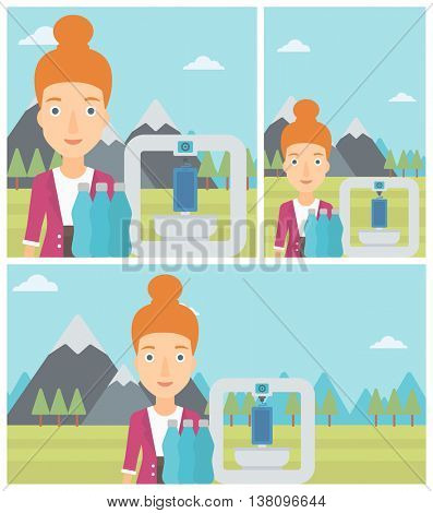Woman standing near three D printer on the background of mountains. 3D printer making a smartphone using recycled plastic bottles. Vector flat design illustration. Square, horizontal, vertical layouts