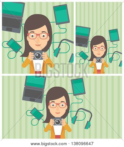 Woman taking photo with digital camera. Young woman surrounded with her electronic gadgets. Woman using many electronic gadgets. Vector flat design illustration. Square, horizontal, vertical layouts.