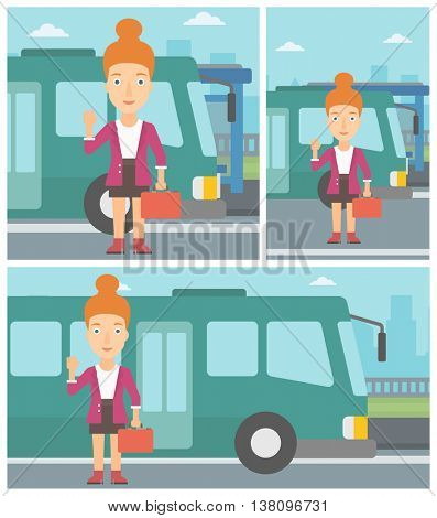 Woman with suitcase standing at the entrance door of a bus on a city background. Young woman waving in front of a bus. Vector flat design illustration. Square, horizontal, vertical layouts.