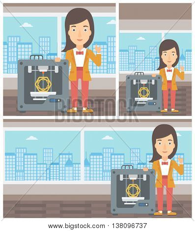 Young woman standing near tree D printer and pointing forefinger up. Engineer using 3D printer. Woman working with 3D printer. Vector flat design illustration. Square, horizontal, vertical layouts.