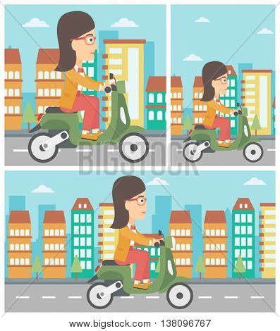 Woman riding a scooter on a city background. Young woman driving a scooter in the street. Vector flat design illustration. Square, horizontal, vertical layouts.