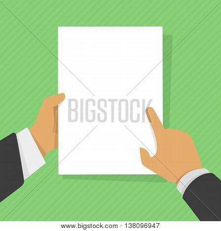Business man hand holding paper mockup empty template vector illustration. A4 blank sheet list without text, announcement frame flat style design. Clean sheet of paper in a hand of the person.