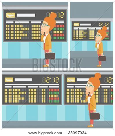 Woman with briefcase looking at departure board at the airport. Passenger standing at the airport in front of departure board. Vector flat design illustration. Square, horizontal, vertical layouts.