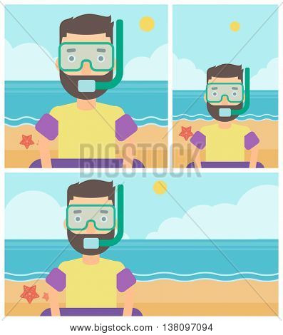 Man in mask, tube and rubber ring standing on the background of beach and sea. Man wearing snorkeling equipment on the beach. Vector flat design illustration. Square, horizontal, vertical layouts.