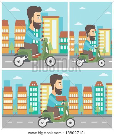 A hipster man with the beard riding a scooter on a city background. Young man driving a scooter in the street. Vector flat design illustration. Square, horizontal, vertical layouts..