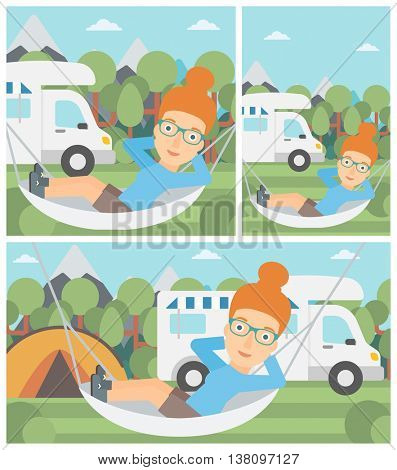 Young woman lying in hammock in front of motor home in the forest. Woman resting in hammock and enjoying vacation in camper van. Vector flat design illustration. Square, horizontal, vertical layouts.