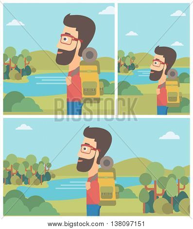 Hipster man with backpack enjoying the view of landscape with mountains and lake. Vector flat design illustration. Square, horizontal, vertical layouts.