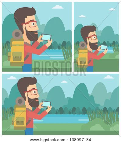 A hipster man with the beard taking photo of landscape with mountains. Young man with backpack taking photo with his cellphone. Vector flat design illustration. Square, horizontal, vertical layouts.