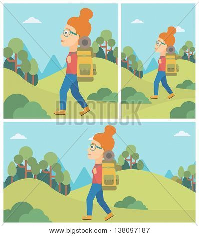 Young woman hiking in mountains. Female traveler with backpack mountaineering. Hiking woman with backpack walking outdoor. Vector flat design illustration. Square, horizontal, vertical layouts.