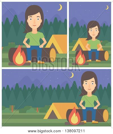 Woman sitting on a log near a fire on a background of camping site with tent. Young woman sitting near a campfire at a campsite. Vector flat design illustration. Square, horizontal, vertical layouts.