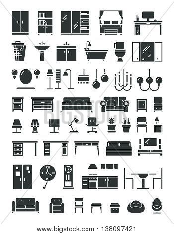 Home furniture vector icons. Set of furniture for home and office, illustration furrniture table bed and armchair for room