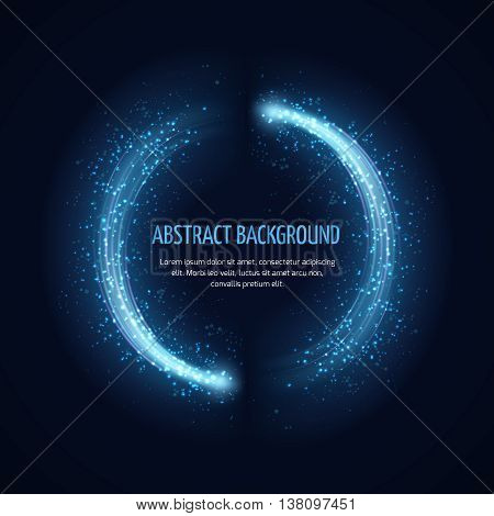 Glittering star dust circle vector frame. Bright glittering circle and illustration of template glittering frame