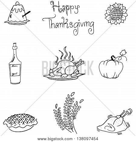 Thanksgiving in doodle food vectoor art illustration