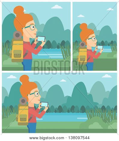 Travelling woman taking photo of landscape with mountains. Young hiking woman with backpack taking photo with her cellphone. Vector flat design illustration. Square, horizontal, vertical layouts.