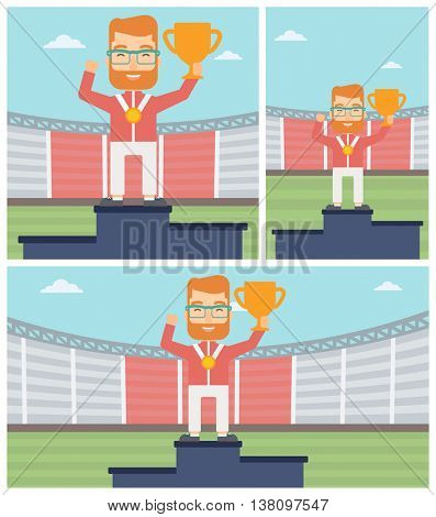 Sportsman celebrating on the winners podium. Man with gold medal and trophy cup standing on the winners podium. Winner concept. Vector flat design illustration. Square, horizontal, vertical layouts.