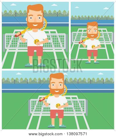Hipster tennis player standing on the tennis court. Male tennis player holding a tennis racket and a ball. Man playing tennis. Vector flat design illustration. Square, horizontal, vertical layouts.