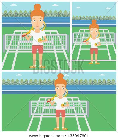 Female tennis player standing on the tennis court. Tennis player holding a tennis racket and a ball. Young woman playing tennis. Vector flat design illustration. Square, horizontal, vertical layouts.