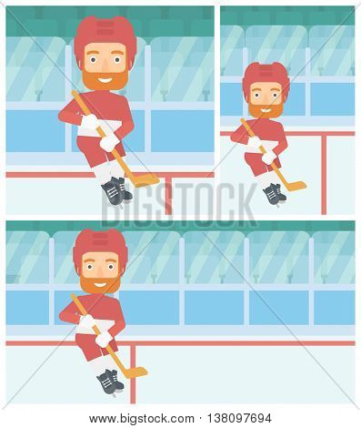 Hipster ice hockey player with the beard skating on ice rink. Ice hockey player with a stick. Sportsman playing ice hockey. Vector flat design illustration. Square, horizontal, vertical layouts.