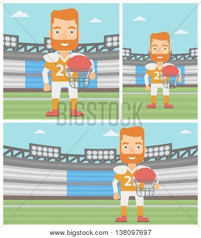 A hipster rugby player with the beard holding ball and helmet in hands. Male rugby player in uniform standing on rugby stadium. Vector flat design illustration. Square, horizontal, vertical layouts.