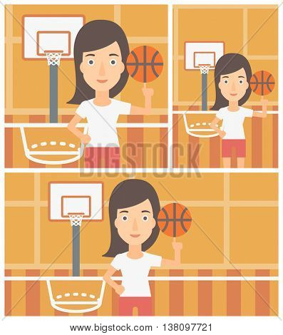 Professional sportswoman spinning basketball ball on her finger. Young basketball player standing on the basketball court. Vector flat design illustration. Square, horizontal, vertical layouts.