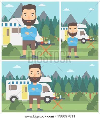 A hipster man with the beard standing in front of motor home. Young man with arms crossed enjoying vacation in camper van. Vector flat design illustration. Square, horizontal, vertical layouts.