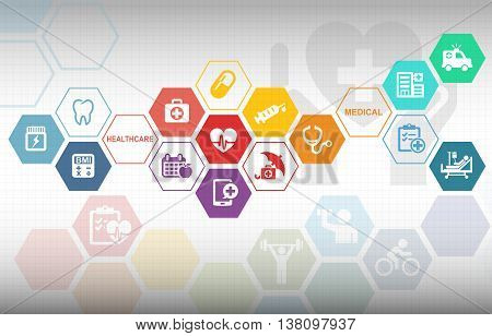 Medical Healthcare Fitness Background with various icons