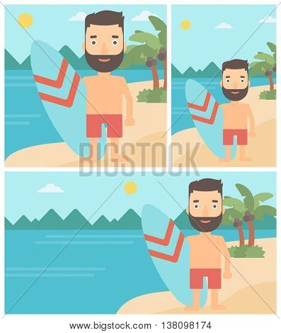 A hipster surfer with the beard standing with a surfboard on the beach. Professional surfer with a surf board at the beach. Vector flat design illustration. Square, horizontal, vertical layouts.