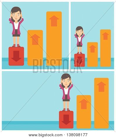 A frightened female bankrupt clutching her head. Bankrupt standing on chart going down. Concept of business bankruptcy. Vector flat design illustration. Square, horizontal, vertical layouts.