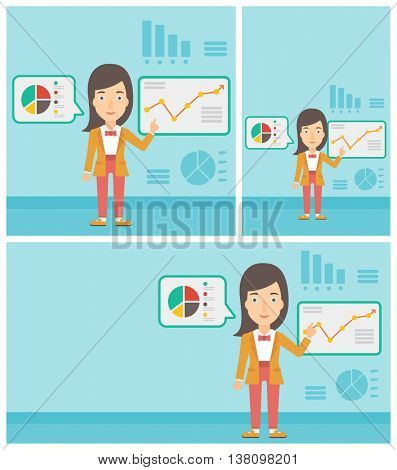 Young business woman pointing at charts on a board during business presentation. Woman giving a business presentation. Vector flat design illustration. Square, horizontal, vertical layouts.