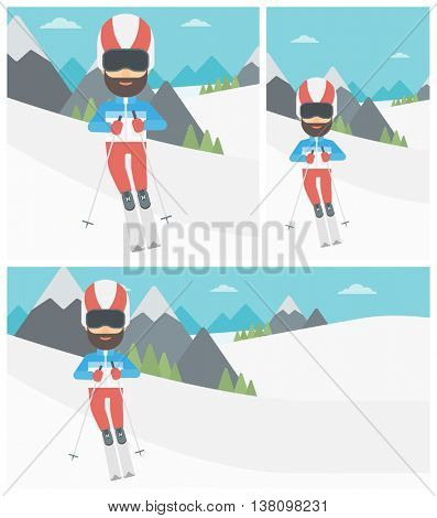 Hipster man skiing on the background of snow capped mountain. Skier skiing downhill in mountains. Male skier on downhill slope. Vector flat design illustration. Square, horizontal, vertical layouts.