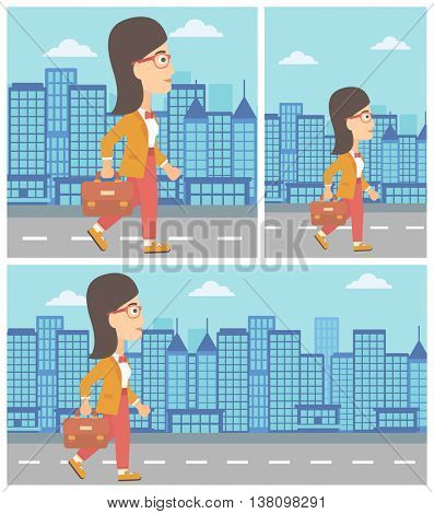 Young business woman walking with a briefcase. Business woman walking down the street. Vector flat design illustration. Square, horizontal, vertical layouts.