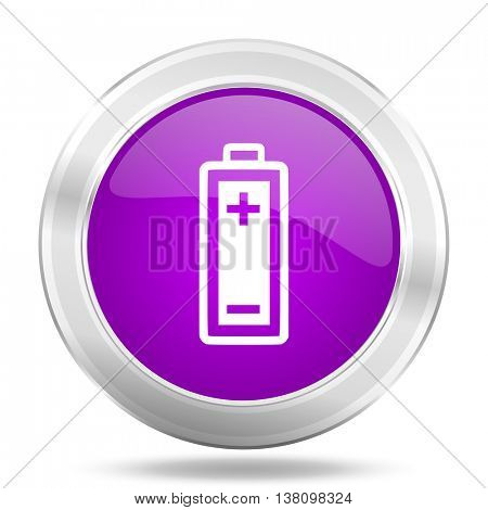 battery round glossy pink silver metallic icon, modern design web element