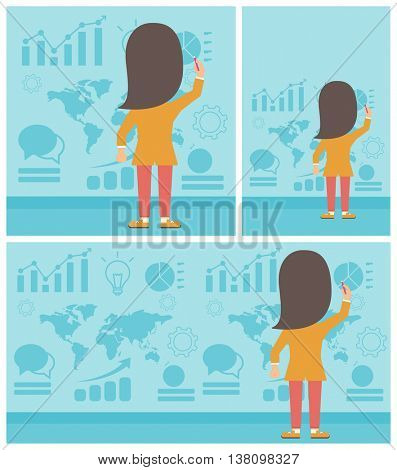 Rear view of business woman drawing on a wall with many charts and maps. Woman giving a business presentation. Vector flat design illustration. Square, horizontal, vertical layouts.