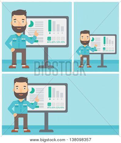 Hipster businessman with the beard pointing at charts on a board during business presentation. Man giving business presentation. Vector flat design illustration. Square, horizontal, vertical layouts.